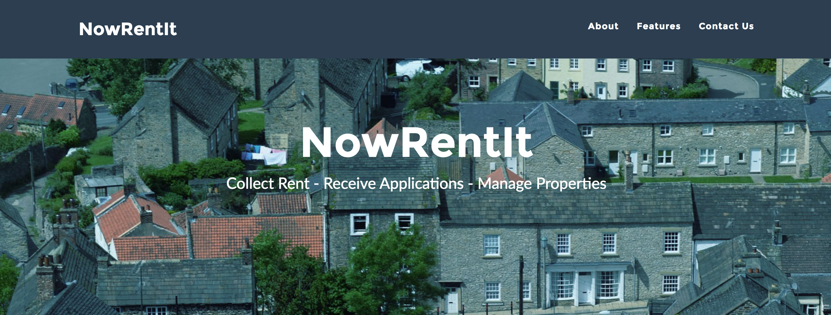 NowRentIt homepage design: collect rent, receive applications, manage properties