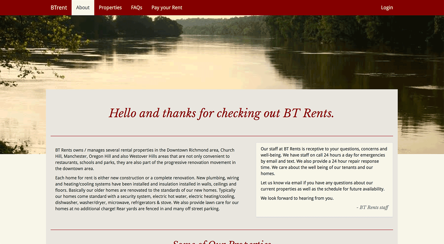 btrent.com homepage design