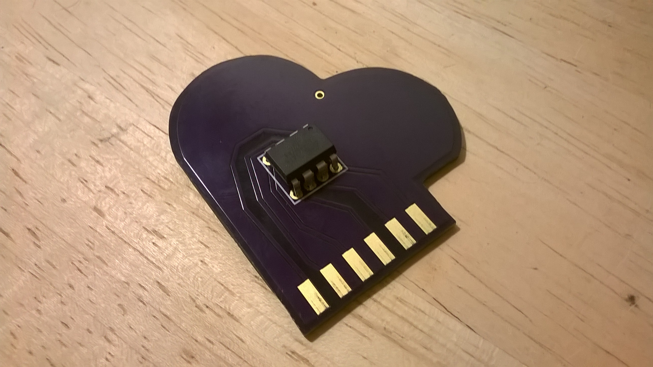 Custom designed circuit board pcb cartridge, in the shape of a heart